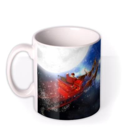 Mugs - Christmas Flying Santa Personalised Mug - Image 1