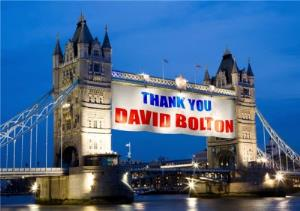 Greeting Cards - London Tower Bridge Personalised Thank You Banner Card - Image 1