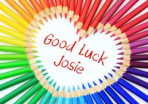 Greeting Cards - Heart Shaped Colouring Pencils Personalised Good Luck Card - Image 1