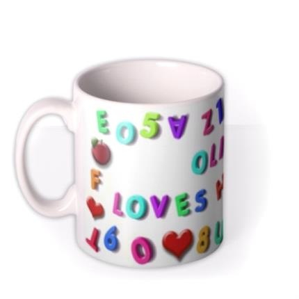 Mugs - Magnetic Letters, Fruit, and Heart Custom Text Mug - Image 1