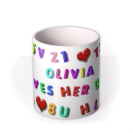 Mugs - Magnetic Letters, Fruit, and Heart Custom Text Mug - Image 3
