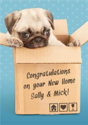 Greeting Cards - A Pug In A Box Moving House Personalised New Home Card - Image 1