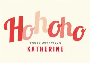 Greeting Cards - Big Red Letters Ho, Ho, Ho Personalised Merry Christmas Card - Image 1