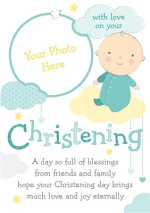 Greeting Cards - Baby And Clouds With Love Personalised Photo Upload Christening Card - Image 1