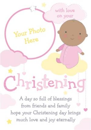 Greeting Cards - Lemon And Baby Pink Personalised Photo Upload Happy Christening Day Card - Image 1