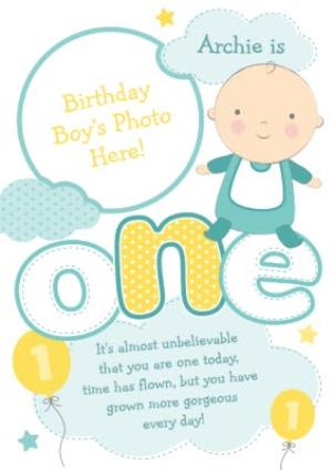 Greeting Cards - Baby In Clouds Personalised Photo Upload Happy 1st Birthday Card - Image 1