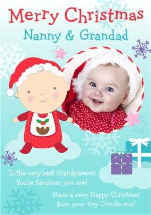 Greeting Cards - Baby And Clouds Nanny And Grandad Personalised Photo Upload Christmas Card - Image 1