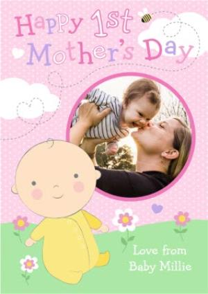 Greeting Cards - Baby In Yellow Jumpsuit Personalised Photo Upload Happy 1st Mother's Day Card - Image 1