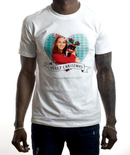 T-Shirts - Merry Christmas Fairy Light Heart Photo Upload T-shirt - Image 2