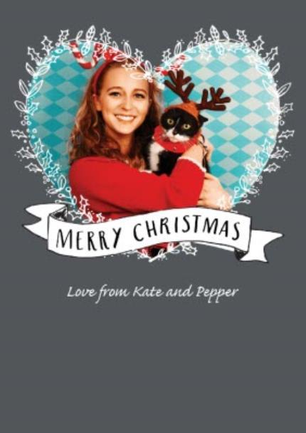 T-Shirts - Merry Christmas Fairy Light Heart Photo Upload T-shirt - Image 4