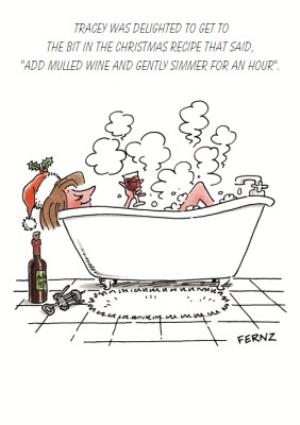 Greeting Cards - Add Mulled Wine And Gently Simmer Personalised Happy Christmas Card - Image 1