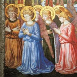 Greeting Cards - Adoring Angels Religious Personalised Merry Christmas Card - Image 1