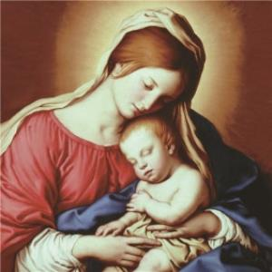 Greeting Cards - Mary And Baby Jesus Traditional Christmas Card - Image 1