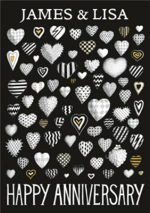 Greeting Cards - Black And White Hearts Personalised Happy Anniversary Card - Image 1