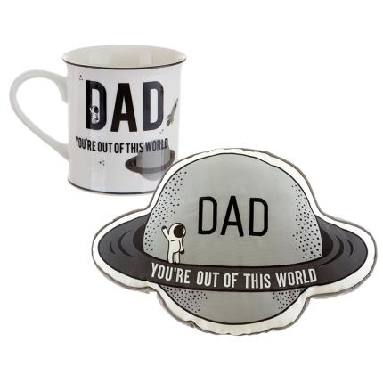 Gadgets & Novelties - Dad You're Out of This World Mug and Plaque Set - Image 1