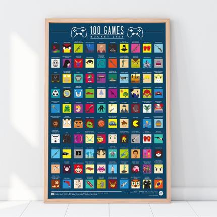 Gadgets & Novelties - Top 100 Video Games Bucket List Scratch Off Poster - Image 1