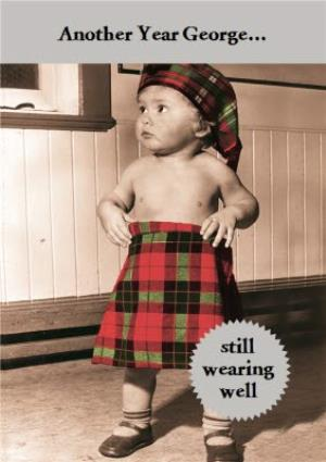Greeting Cards - Another Year... Still Wearing Well Tartan Personalised Birthday Card - Image 1