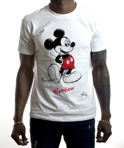 T-Shirts - Disney Mickey Mouse Sketch Personalised T-shirt - Image 2
