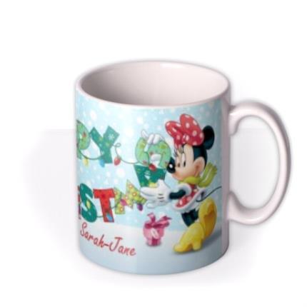 Mugs - Christmas Disney Minnie & Mickey Mouse Personalised Mug - Image 2