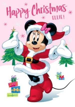 Disney Minnie Mouse Pink Personalised Christmas Card Moonpig