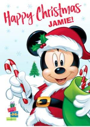 Disney Christmas Cards.Disney Mickey Mouse Personalised Christmas Card