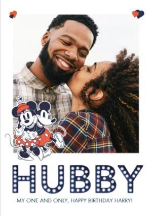 Greeting Cards - Mickey & Minnie Mouse Husband Photo Upload Birthday Card  - Image 1