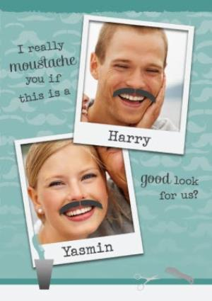 Greeting Cards - I Really Moustache You Photo Upload Card - Image 1