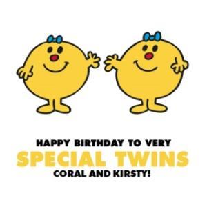 Personalised Mr Men Happy Birthday Twins Card