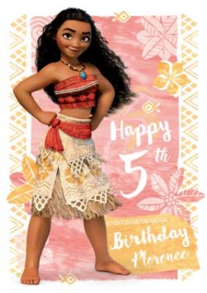 Greeting Cards - Moana 5th Birthday Card - Personalised With A Name - Image 1