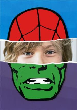 Greeting Cards - Marvel The Avengers Spiderman And The Hulk Face Photo Card - Image 1
