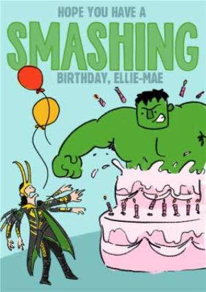 Greeting Cards - Marvel Comics Incredible Hulk and Loki funny birthday card - Image 1