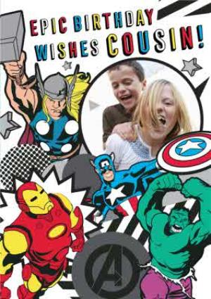 Greeting Cards - Marvel Comics Cousin! Epic Birthday photo upload card - Image 1