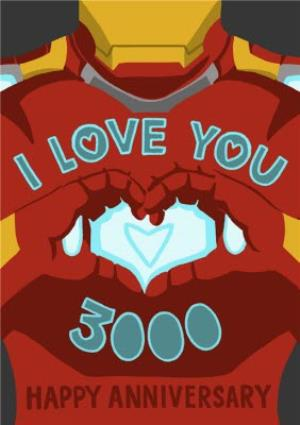 Greeting Cards - Marvel Comics Iron Man - I love you 3000 - Anniversary Card - Image 1