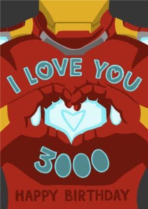 Greeting Cards - Marvel Comics Iron Man I Love You 3000 Birthday Card  - Image 1