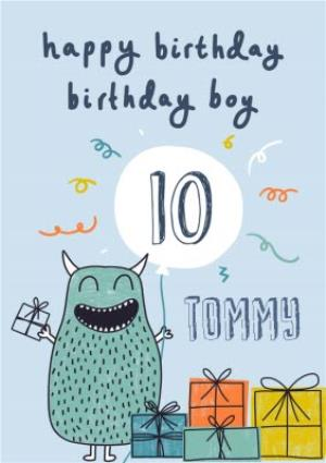 Happy 10th Birthday Monster Card For Boy
