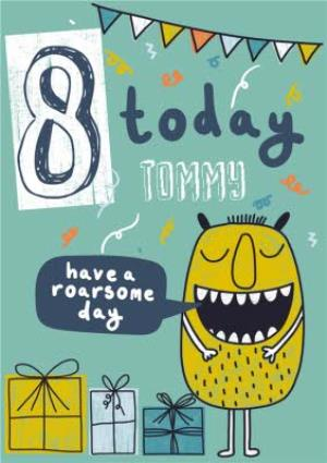 Greeting Cards - 8 Today Monster Kid's Birthday Card - Image 1