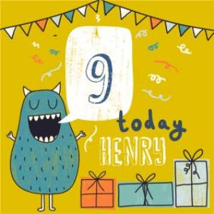 Greeting Cards - 9 Today Monster Birthday Card - Image 1