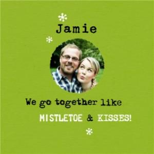 Greeting Cards - Mistletoe And Kisses Typed Photo Upload Christmas Card - Image 1