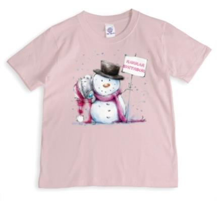 T-Shirts - Merry Christmas Tatty Teddy Snowman Personalised T-shirt - Image 1