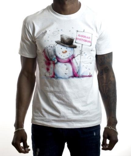 T-Shirts - Merry Christmas Tatty Teddy Snowman Personalised T-shirt - Image 2