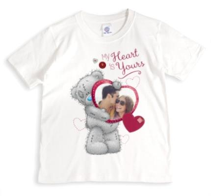 T-Shirts - Valentine's Day Tatty Teddy My Heart is Yours Photo Upload T-Shirt - Image 1