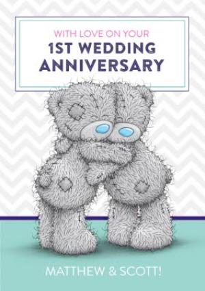 Greeting Cards - Me To You Tatty Teddy Happy First Anniversary Card - Image 1