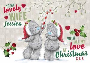 Greeting Cards - Me To You Tatty Teddy To Wife Personalized Christmas Card - Image 1