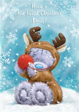 Greeting Cards - Me To You Tatty Teddy Reindeer Costume Personalised Christmas Card - Image 1