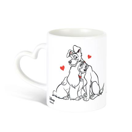 Gadgets & Novelties - Lady and the Tramp Heart Handle Mug - Image 1