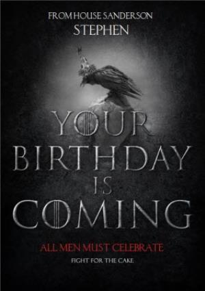 Game Of Thrones Birthday Coming Personalised Card