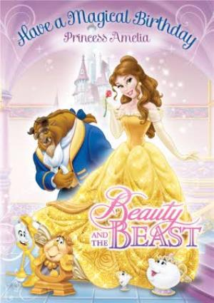 Disney Beauty And The Beast Magical Personalised Happy Birthday Card