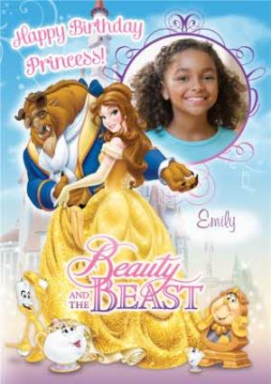 Disney Beauty And The Beast Princess Scene Photo Upload Happy Birthday Card Moonpig