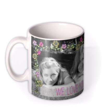 Mugs - Flower Garland Photo Upload Mug - Image 1