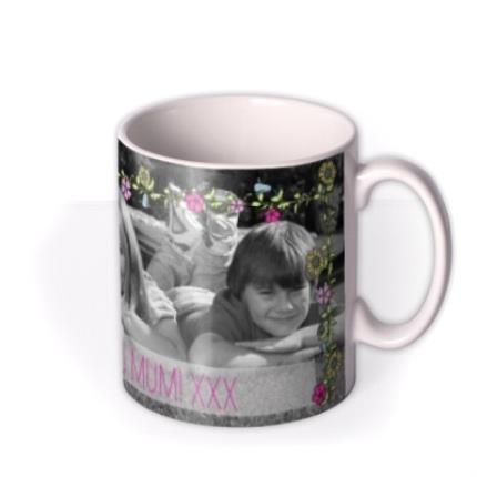 Mugs - Flower Garland Photo Upload Mug - Image 2